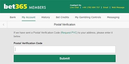 Bet365 postal verification
